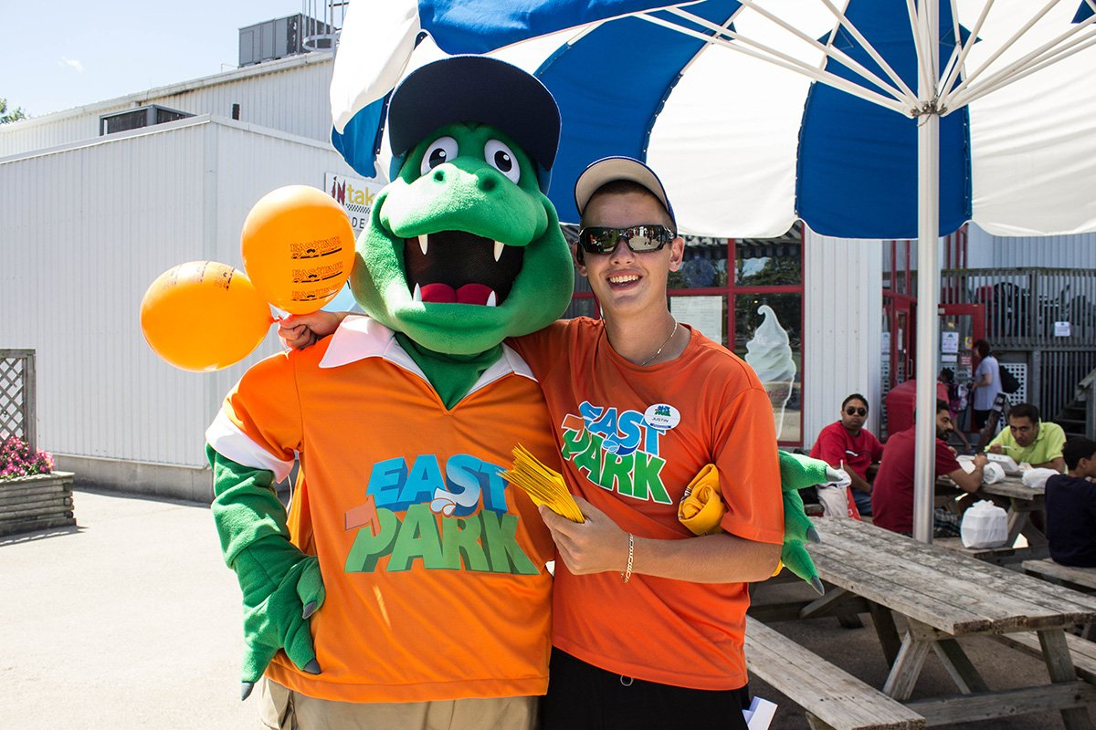 Photo of East Park mascot and team member
