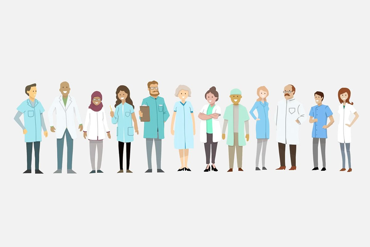 Illustration of denturists representing the Denturist Association Ontario of Ontario